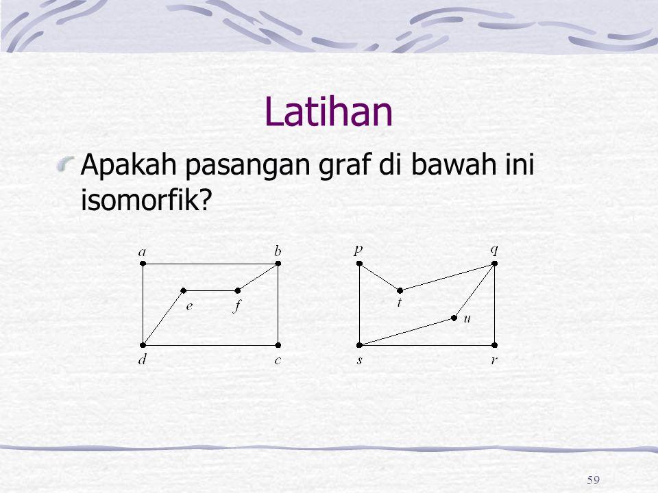 59 Latihan Apakah pasangan graf di bawah ini isomorfik?