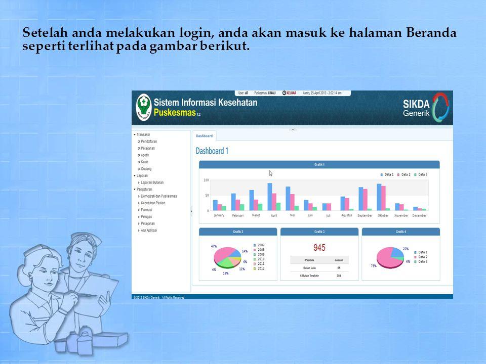Setelah anda melakukan login, anda akan masuk ke halaman Beranda seperti terlihat pada gambar berikut.