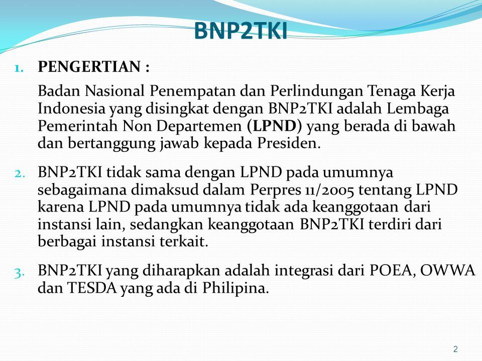 BNP2TKI 1. PENGERTIAN : Badan Nasional Penempatan dan Perlindungan Tenaga Kerja Indonesia yang disingkat dengan BNP2TKI adalah Lembaga Pemerintah Non