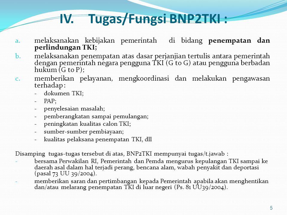 IV.Tugas/Fungsi BNP2TKI : a. melaksanakan kebijakan pemerintah di bidang penempatan dan perlindungan TKI; b. melaksanakan penempatan atas dasar perjan