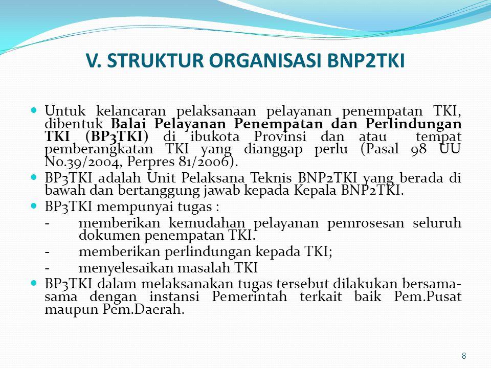 V. STRUKTUR ORGANISASI BNP2TKI  Untuk kelancaran pelaksanaan pelayanan penempatan TKI, dibentuk Balai Pelayanan Penempatan dan Perlindungan TKI (BP3T