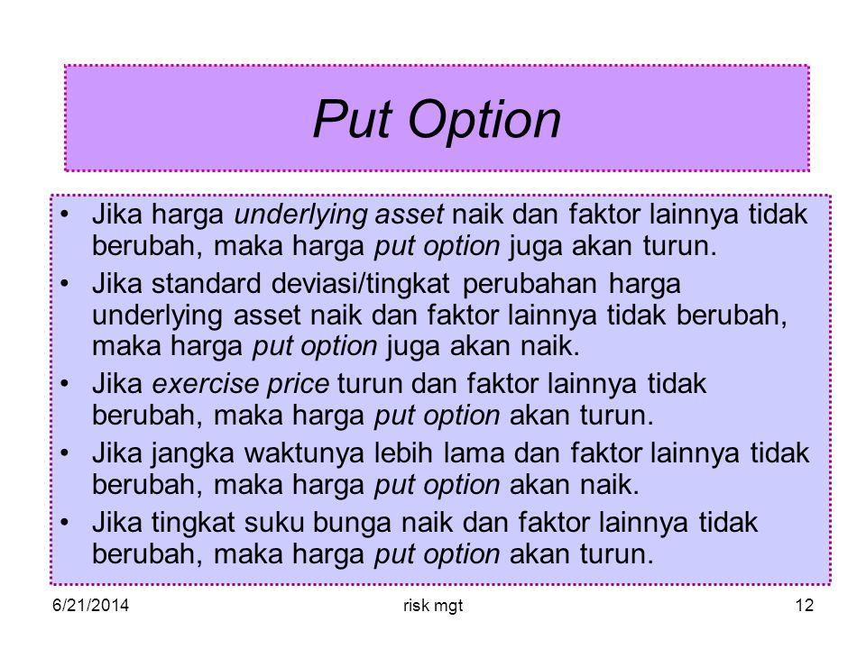 6/21/2014risk mgt12 Put Option •Jika harga underlying asset naik dan faktor lainnya tidak berubah, maka harga put option juga akan turun.