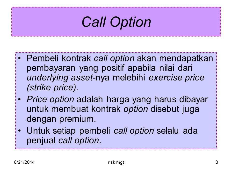 6/21/2014risk mgt4 Call Option Contoh: •ButuhMinyak memutuskan untuk tidak menanggung risiko apabila harga minyak per barelnya melebihi $65 karena keutungan perusahaan akan menurun $2,500,000 untuk setiap kenaikan harga minyak.