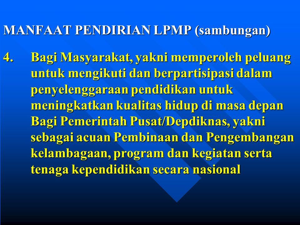 XII. MANFAAT PENDIRIAN LPMP 1. Bagi Pemerintah Kabupaten/Kota dan Provinsi,yakni sebagai acuan untuk mengembangkan program kemitraan 2. Bagi Sekolah,