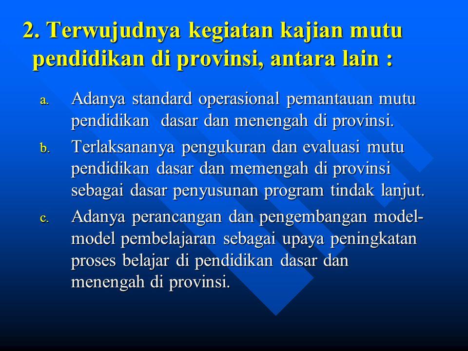 2.Terwujudnya kegiatan kajian mutu pendidikan di provinsi, antara lain : a.