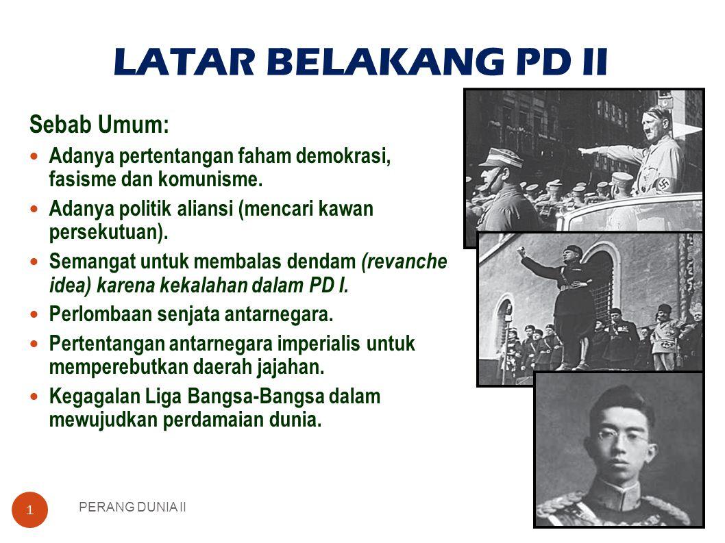 LATAR BELAKANG PD II PERANG DUNIA II 1 Sebab Umum:  Adanya pertentangan faham demokrasi, fasisme dan komunisme.