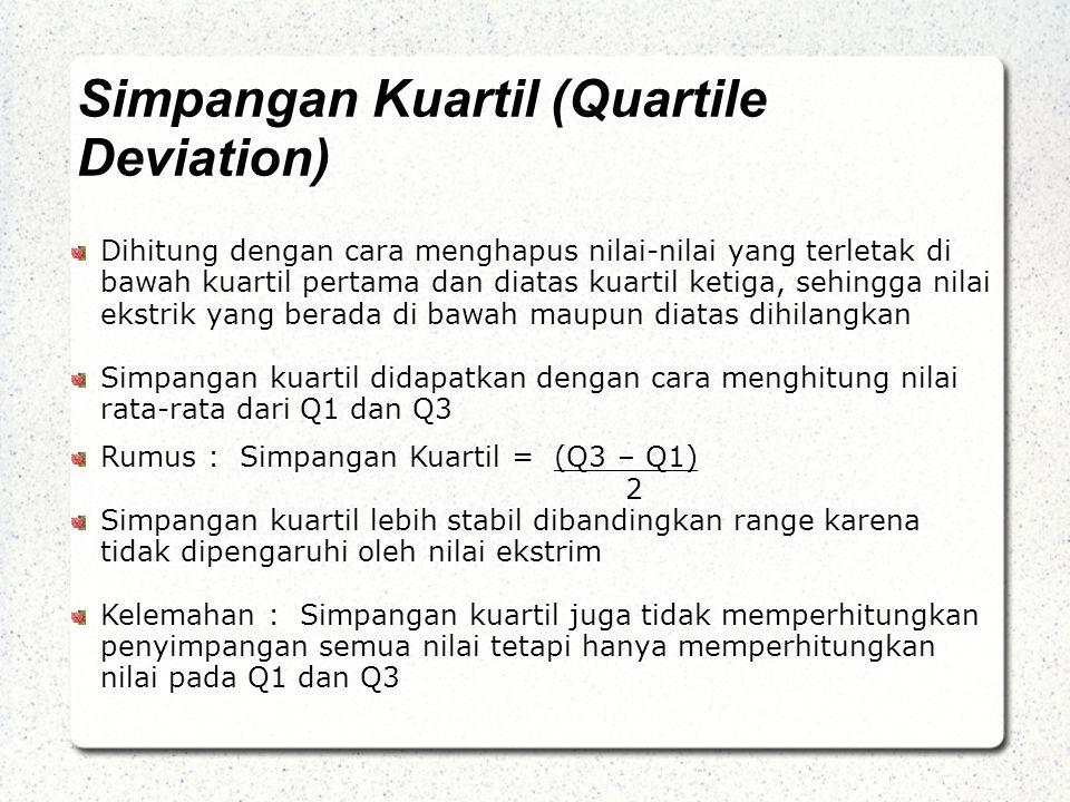Simpangan Kuartil (Quartile Deviation) Dihitung dengan cara menghapus nilai-nilai yang terletak di bawah kuartil pertama dan diatas kuartil ketiga, sehingga nilai ekstrik yang berada di bawah maupun diatas dihilangkan Simpangan kuartil didapatkan dengan cara menghitung nilai rata-rata dari Q1 dan Q3 Rumus : Simpangan Kuartil = (Q3 – Q1) 2 Simpangan kuartil lebih stabil dibandingkan range karena tidak dipengaruhi oleh nilai ekstrim Kelemahan : Simpangan kuartil juga tidak memperhitungkan penyimpangan semua nilai tetapi hanya memperhitungkan nilai pada Q1 dan Q3