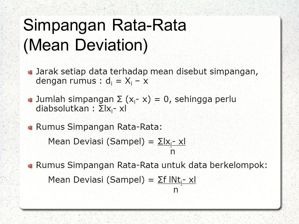 Jarak setiap data terhadap mean disebut simpangan, dengan rumus : d i = X i – x Jumlah simpangan Σ (x i - x) = 0, sehingga perlu diabsolutkan : Σlx i - xl Rumus Simpangan Rata-Rata: Mean Deviasi (Sampel) = Σlx i - xl n Rumus Simpangan Rata-Rata untuk data berkelompok: Mean Deviasi (Sampel) = Σf lNt i - xl n Simpangan Rata-Rata (Mean Deviation)