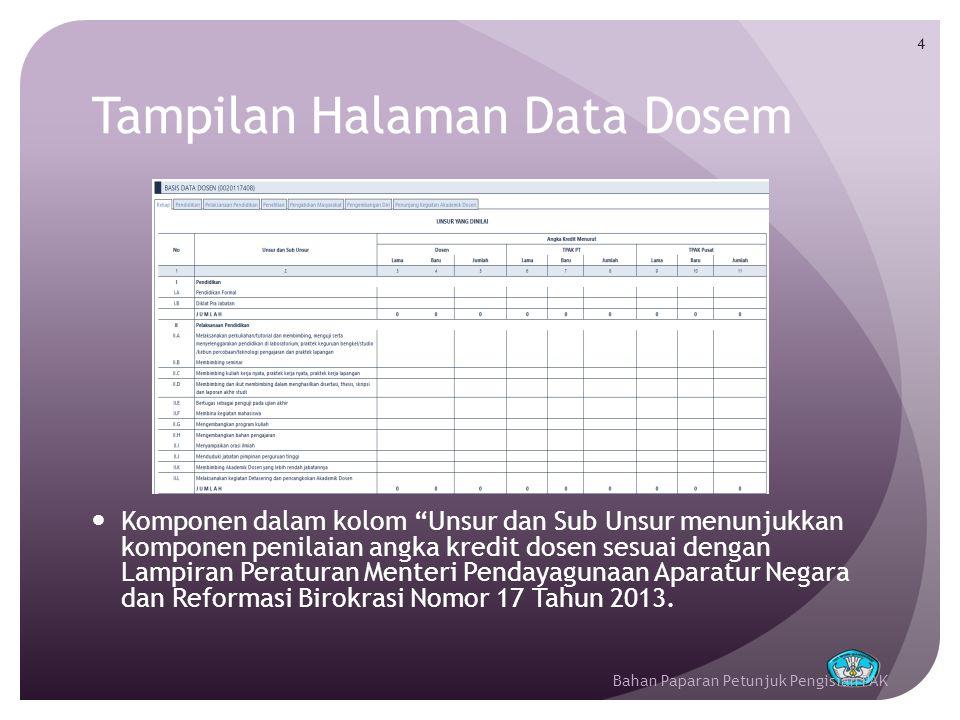 Tampilan Halaman Data Dosem 5  Kolom Angka Kredit Menurut Dosen menunjukkan besaran angka kredit kegiatan tridarma dosen sesuai dengan nilai yang diisikan oleh dosen yang bersangkutan.