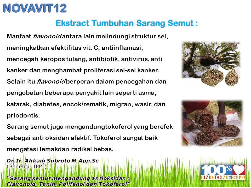 Ekstract Tumbuhan Sarang Semut : Ekstract Tumbuhan Sarang Semut : Manfaat flavonoid antara lain melindungi struktur sel, meningkatkan efektifitas vit.