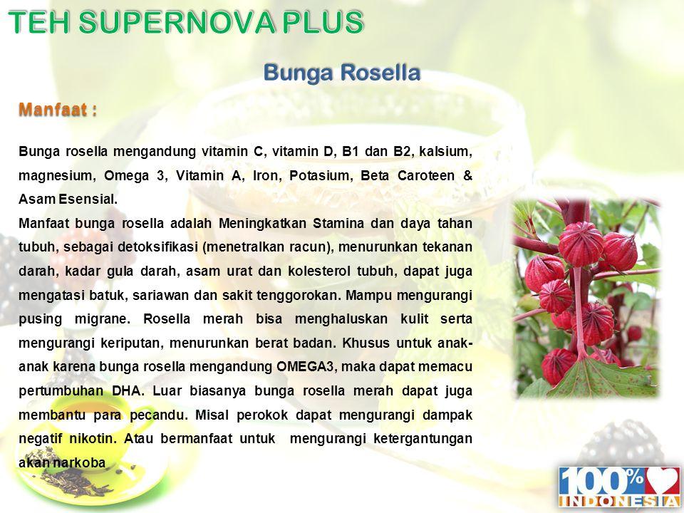 Manfaat : Bunga rosella mengandung vitamin C, vitamin D, B1 dan B2, kalsium, magnesium, Omega 3, Vitamin A, Iron, Potasium, Beta Caroteen & Asam Esensial.