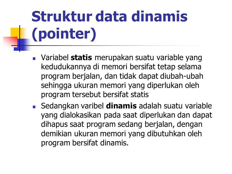 Struktur data dinamis (pointer)  Variabel statis merupakan suatu variable yang kedudukannya di memori bersifat tetap selama program berjalan, dan tid