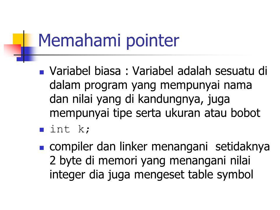 Memahami pointer  Variabel biasa : Variabel adalah sesuatu di dalam program yang mempunyai nama dan nilai yang di kandungnya, juga mempunyai tipe ser