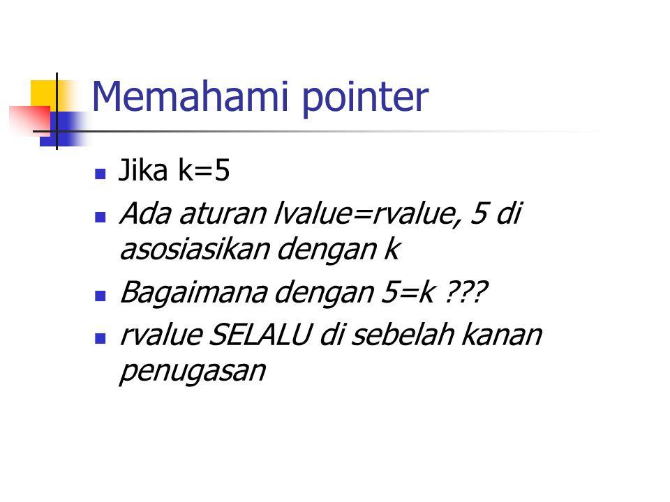 Memahami pointer  Jika k=5  Ada aturan lvalue=rvalue, 5 di asosiasikan dengan k  Bagaimana dengan 5=k ???  rvalue SELALU di sebelah kanan penugasa