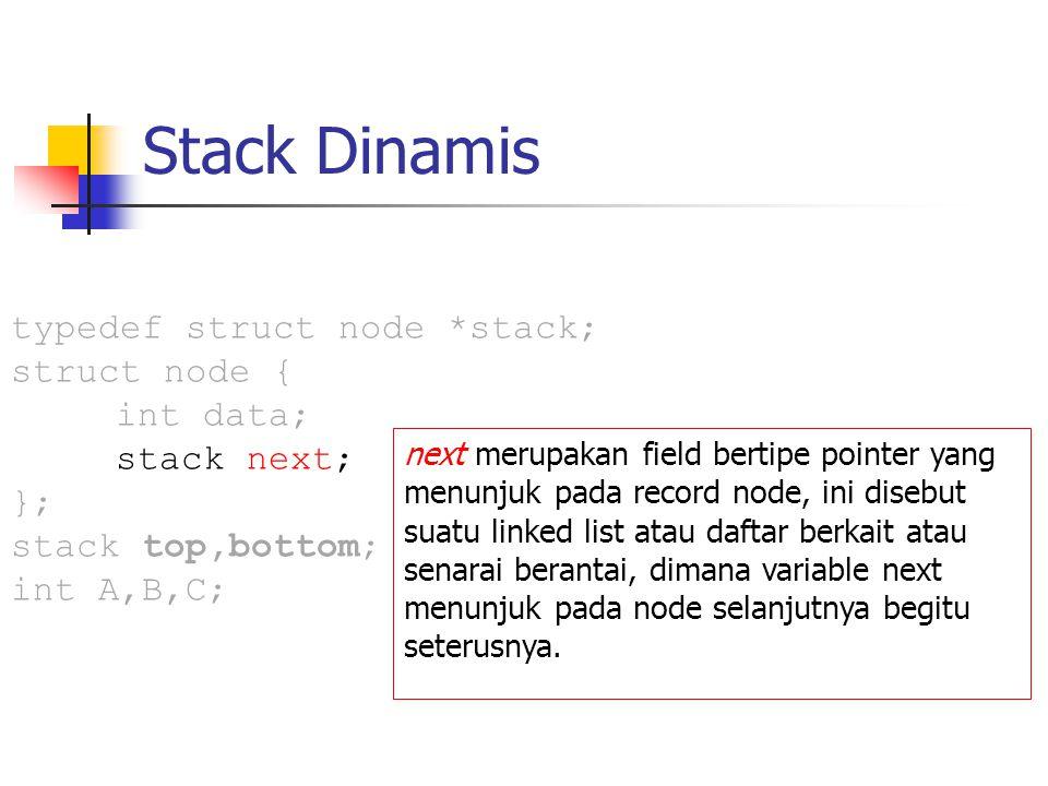 Stack Dinamis next merupakan field bertipe pointer yang menunjuk pada record node, ini disebut suatu linked list atau daftar berkait atau senarai bera