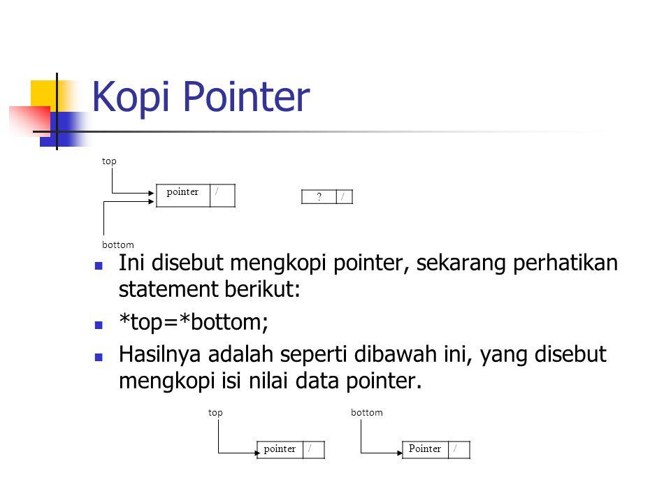 Kopi Pointer  Ini disebut mengkopi pointer, sekarang perhatikan statement berikut:  *top=*bottom;  Hasilnya adalah seperti dibawah ini, yang disebu