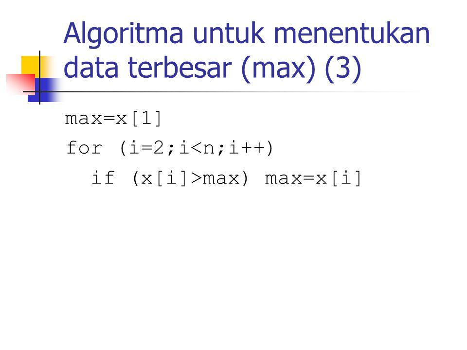 Algoritma untuk menentukan data terbesar (max) (3) max=x[1] for (i=2;i<n;i++) if (x[i]>max) max=x[i]