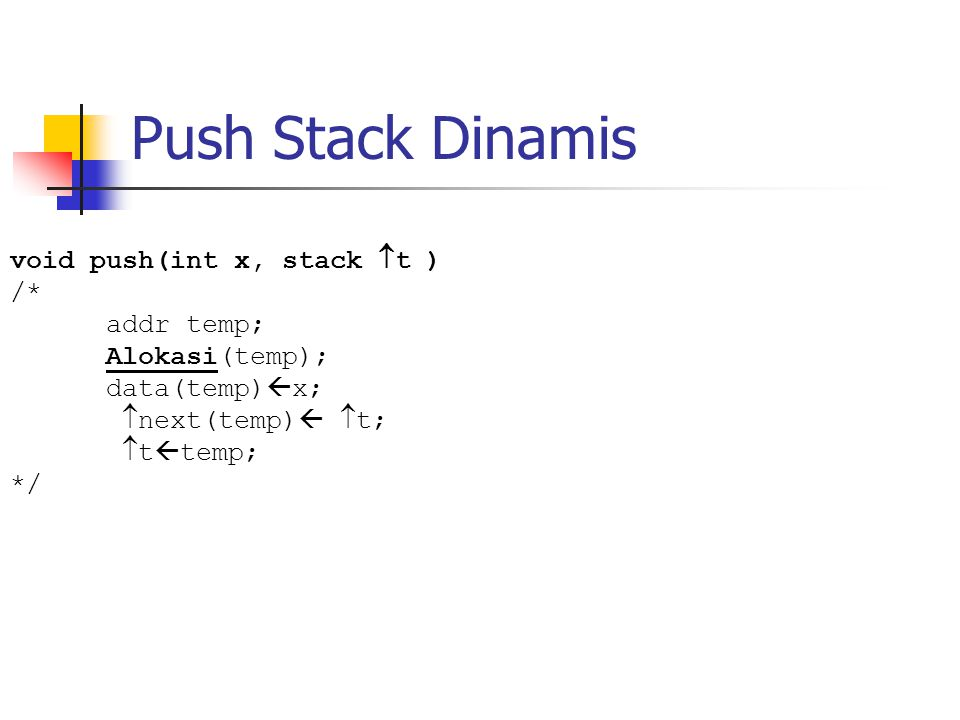 Push Stack Dinamis void push(int x, stack  t ) /* addr temp; Alokasi(temp); data(temp)  x;  next(temp)   t;  t  temp; */
