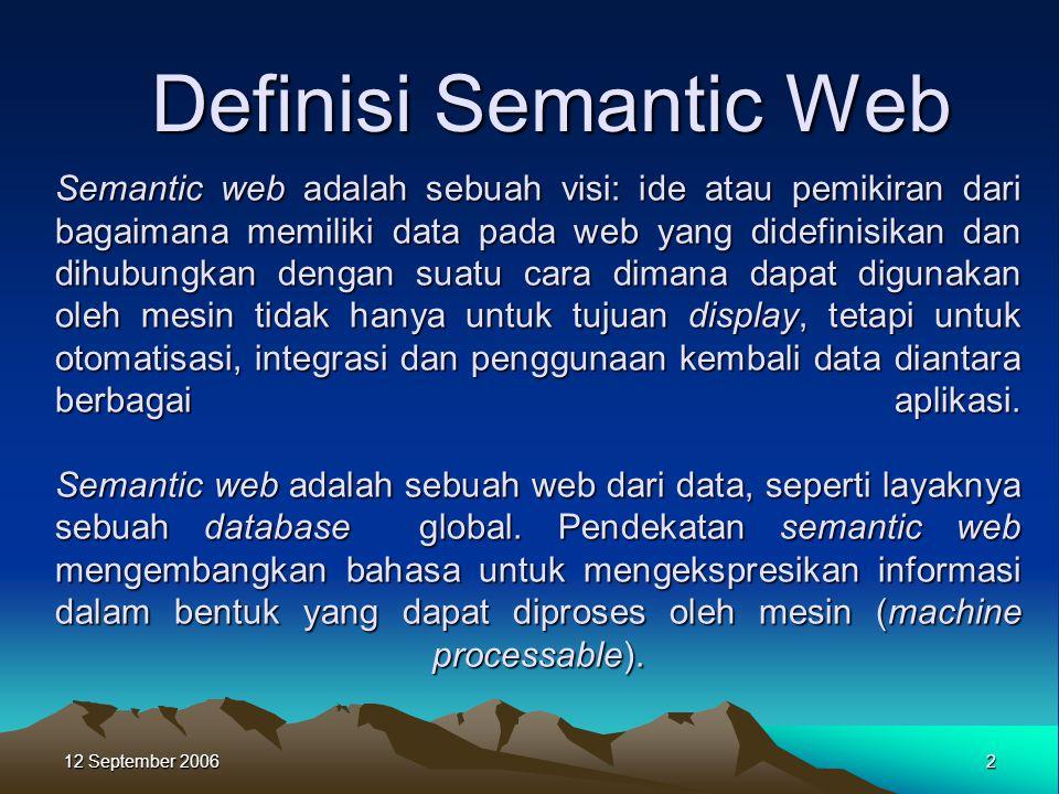 12 September 2006 2 Semantic web adalah sebuah visi: ide atau pemikiran dari bagaimana memiliki data pada web yang didefinisikan dan dihubungkan denga