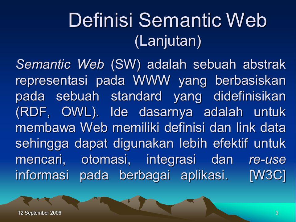 12 September 2006 3 Semantic Web (SW) adalah sebuah abstrak representasi pada WWW yang berbasiskan pada sebuah standard yang didefinisikan (RDF, OWL).