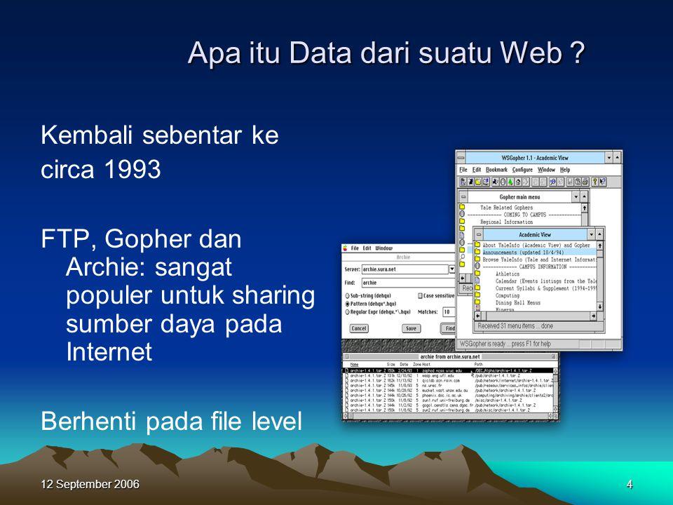 12 September 20064 Apa itu Data dari suatu Web ? Apa itu Data dari suatu Web ? Kembali sebentar ke circa 1993 FTP, Gopher dan Archie: sangat populer u