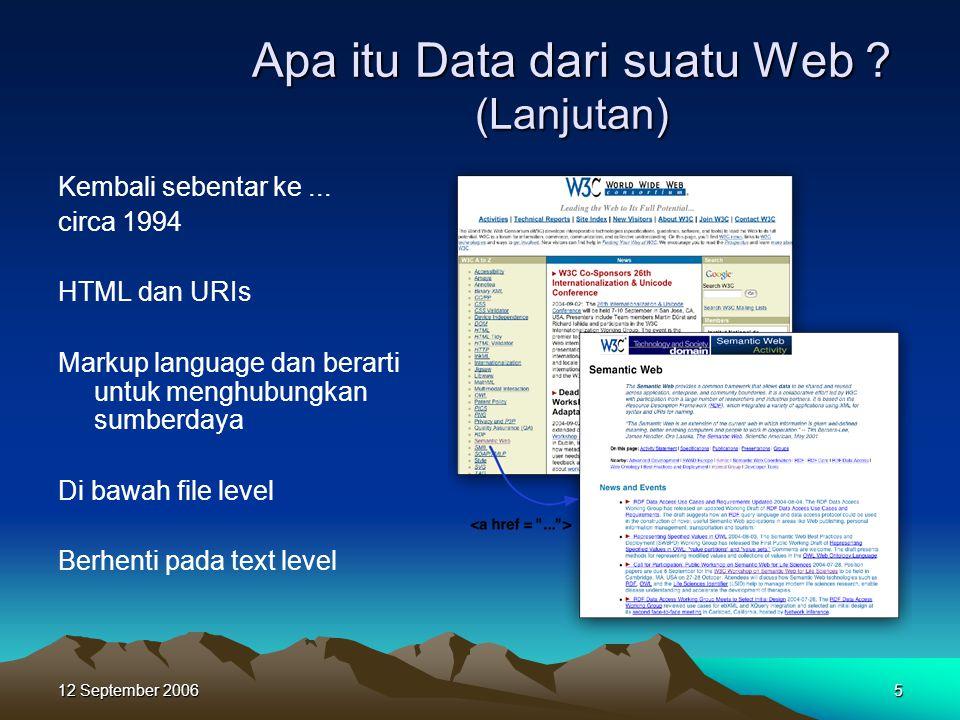 12 September 20065 Apa itu Data dari suatu Web ? (Lanjutan) Kembali sebentar ke... circa 1994 HTML dan URIs Markup language dan berarti untuk menghubu