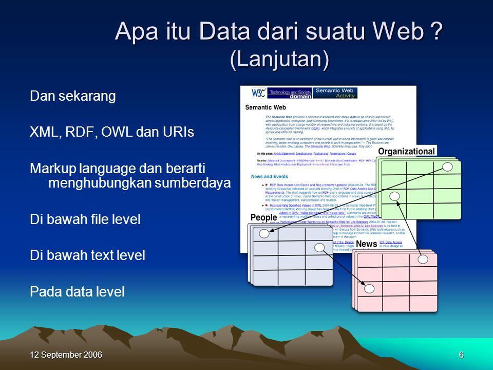 12 September 20066 Apa itu Data dari suatu Web ? (Lanjutan) Dan sekarang XML, RDF, OWL dan URIs Markup language dan berarti menghubungkan sumberdaya D