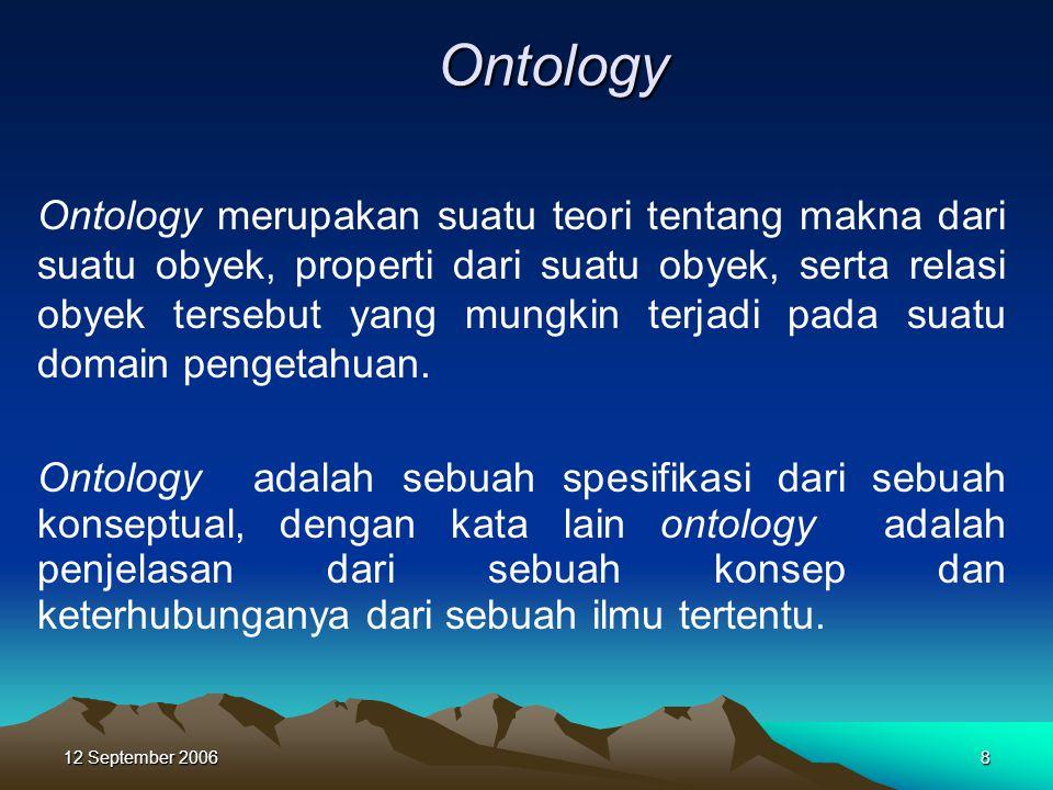 12 September 20068 Ontology Ontology merupakan suatu teori tentang makna dari suatu obyek, properti dari suatu obyek, serta relasi obyek tersebut yang