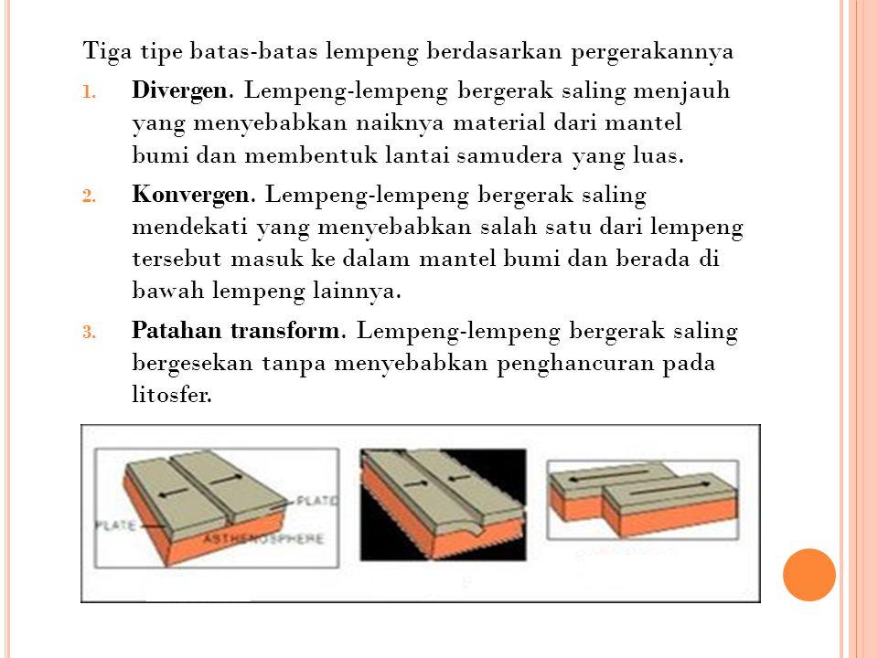 Tiga tipe batas-batas lempeng berdasarkan pergerakannya 1. Divergen. Lempeng-lempeng bergerak saling menjauh yang menyebabkan naiknya material dari ma