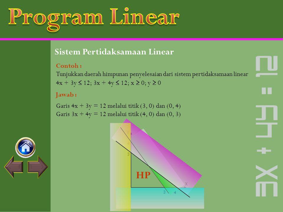 Sistem Pertidaksamaan Linear Sistem pertidaksamaan linear yaitu sebuah sistem yang terdiri dari dua buah pertidaksamaan linear atau lebih. Daerah himp