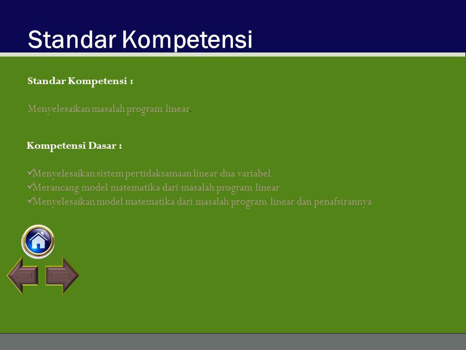 Standar Kompetensi Standar Kompetensi : Menyelesaikan masalah program linear.