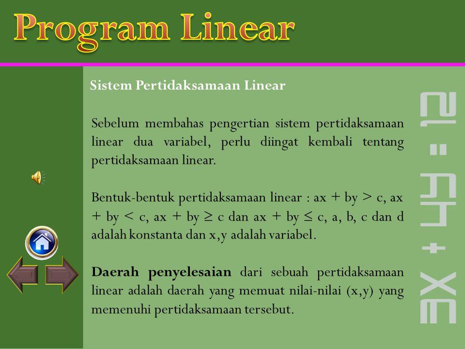 Standar Kompetensi Standar Kompetensi : Menyelesaikan masalah program linear. Kompetensi Dasar :  Menyelesaikan sistem pertidaksamaan linear dua vari
