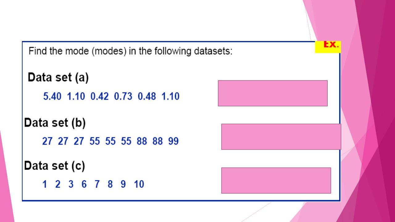 Nilai MODUS data berkelompok  Mo = modus  b = batas bawah kelas interval dengan frekuensi terbanyak  p = panjang kelas interval  b1 = frekuensi terbanyak dikurangi frekuensi kelas sebelumnya  b2 = frekuensi terbanyak dikurangi frekuensi kelas sesudahnya  Kasus  Berikut ini adalah nilai statistik mahasiswa jurusan ekonomi sebuah universitas.