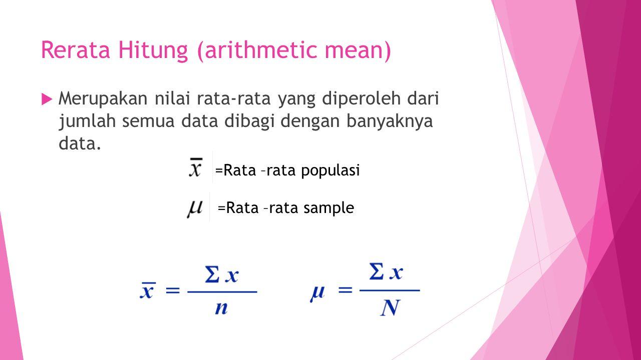 Rerata Hitung (arithmetic mean)  Merupakan nilai rata-rata yang diperoleh dari jumlah semua data dibagi dengan banyaknya data. =Rata –rata populasi =