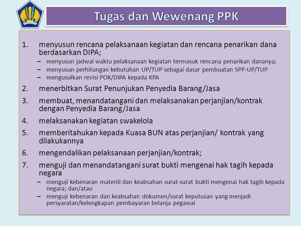 1.menyusun rencana pelaksanaan kegiatan dan rencana penarikan dana berdasarkan DIPA; – menyusun jadwal waktu pelaksanaan kegiatan termasuk rencana pen