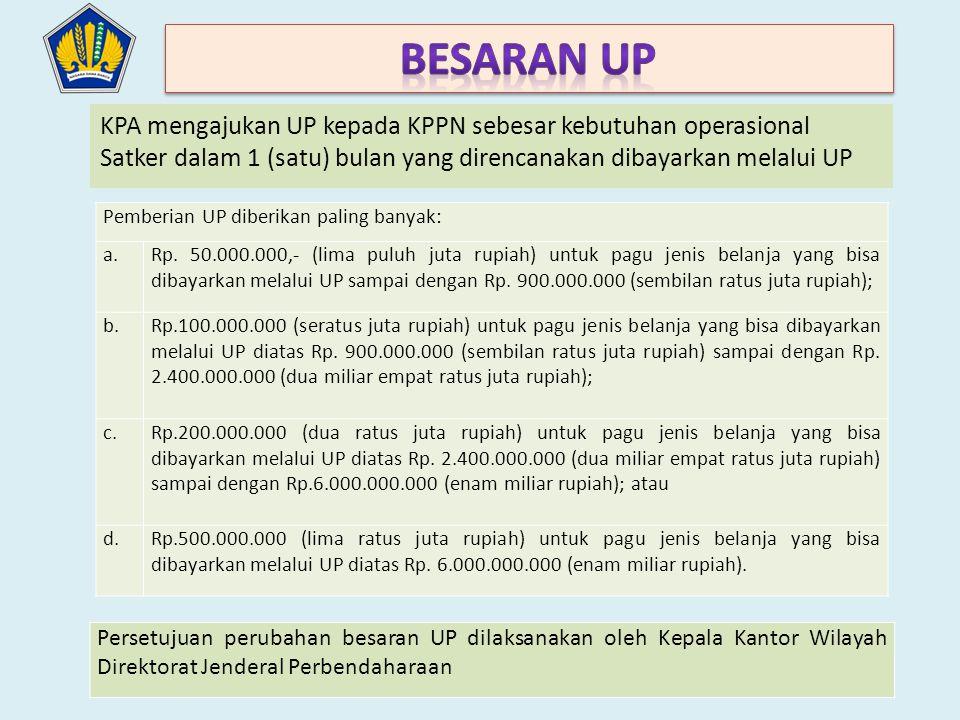 KPA mengajukan UP kepada KPPN sebesar kebutuhan operasional Satker dalam 1 (satu) bulan yang direncanakan dibayarkan melalui UP Pemberian UP diberikan