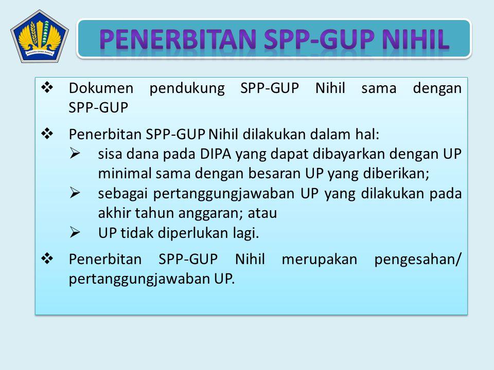  Dokumen pendukung SPP-GUP Nihil sama dengan SPP-GUP  Penerbitan SPP-GUP Nihil dilakukan dalam hal:  sisa dana pada DIPA yang dapat dibayarkan deng