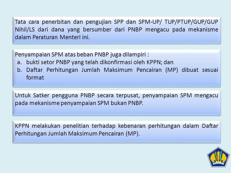 Tata cara penerbitan dan pengujian SPP dan SPM-UP/ TUP/PTUP/GUP/GUP Nihil/LS dari dana yang bersumber dari PNBP mengacu pada mekanisme dalam Peraturan