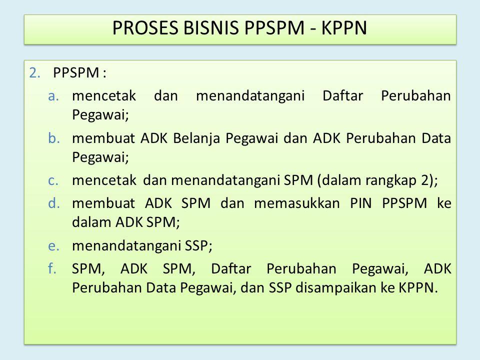 2.PPSPM : a.mencetak dan menandatangani Daftar Perubahan Pegawai; b.membuat ADK Belanja Pegawai dan ADK Perubahan Data Pegawai; c.mencetak dan menanda