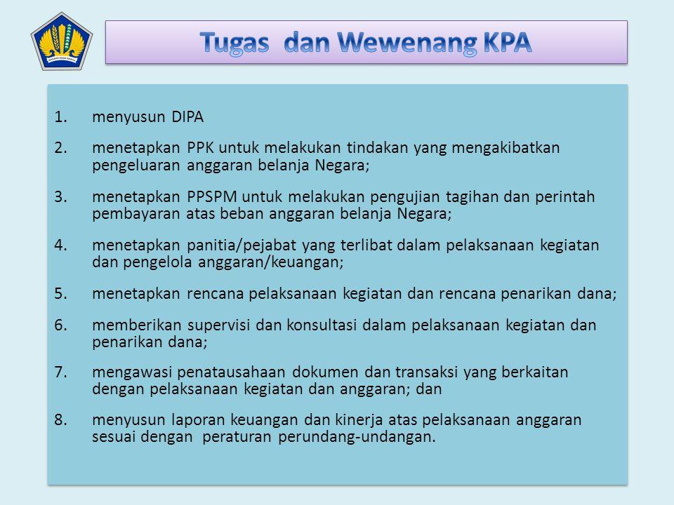 a.mengesahkan rencana pelaksanaan kegiatan dan rencana penarikan dana; b.merumuskan standar operasional agar pelaksanaan pengadaan barang/jasa sesuai dengan ketentuan tentang pengadaan barang/jasa pemerintah; c.menyusun sistem pengawasan dan pengendalian agar proses penyelesaian tagihan atas beban APBN dilaksanakan sesuai dengan peraturan perundang- undangan; d.melakukan pengawasan agar pelaksanaan kegiatan dan pengadaan barang/jasa sesuai dengan keluaran (output) yang ditetapkan dalam DIPA; e.melakukan monitoring dan evaluasi agar pembuatan perjanjian/kontrak pengadaan barang/jasa dan pembayaran atas beban APBN sesuai dengan keluaran (output) yang ditetapkan dalam DIPA serta rencana yang telah ditetapkan; f.merumuskan kebijakan agar pembayaran atas beban APBN sesuai dengan keluaran (output) yang ditetapkan dalam DIPA; dan g.Melakukan pengawasan, monitoring, dan evaluasi atas pertanggungjawaban pelaksanaan anggaran dalam rangka penyusunan laporan keuangan.