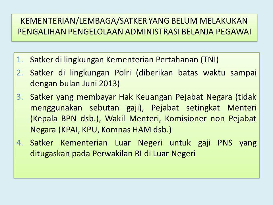 1.Satker di lingkungan Kementerian Pertahanan (TNI) 2.Satker di lingkungan Polri (diberikan batas waktu sampai dengan bulan Juni 2013) 3.Satker yang m