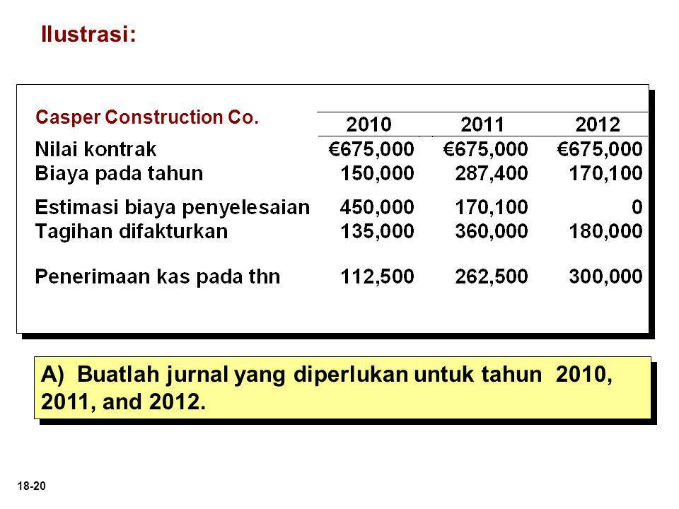18-20 A) Buatlah jurnal yang diperlukan untuk tahun 2010, 2011, and 2012. Ilustrasi: Casper Construction Co.