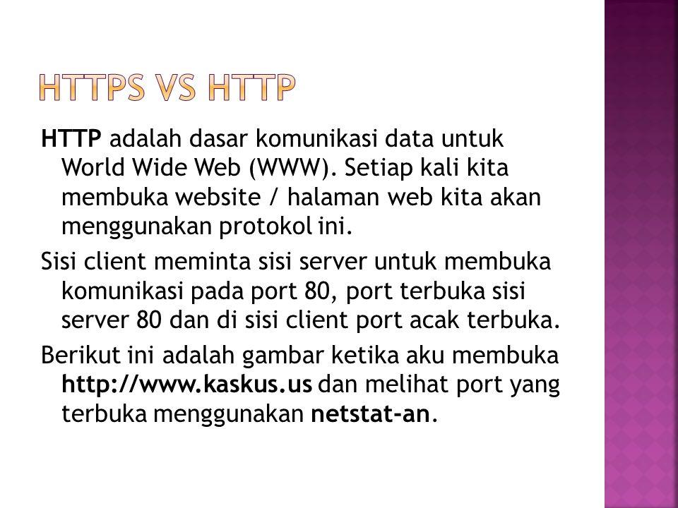 HTTP adalah dasar komunikasi data untuk World Wide Web (WWW). Setiap kali kita membuka website / halaman web kita akan menggunakan protokol ini. Sisi