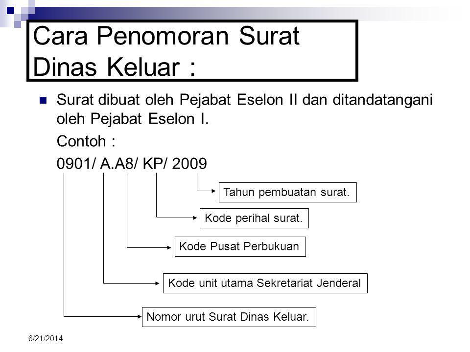 6/21/2014 SSurat dibuat oleh Pejabat Eselon II dan ditandatangani oleh Pejabat Eselon I. Contoh : 0901/ A.A8/ KP/ 2009 Cara Penomoran Surat Dinas Ke