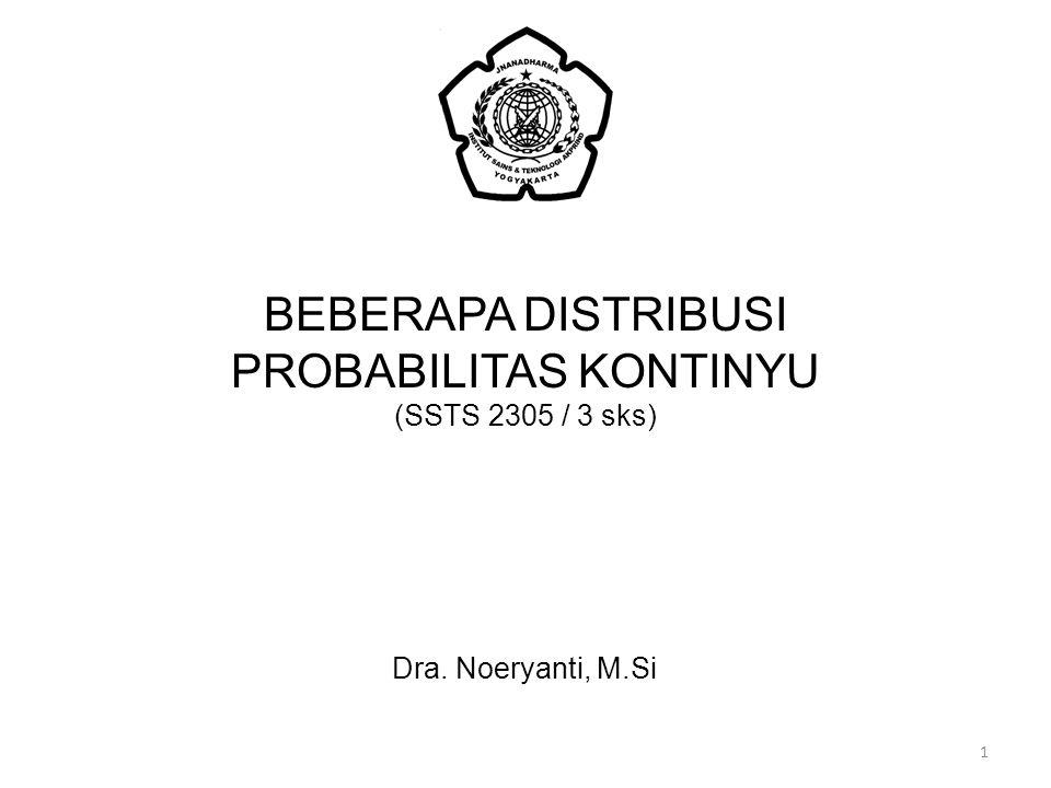 BEBERAPA DISTRIBUSI PROBABILITAS KONTINYU (SSTS 2305 / 3 sks) Dra. Noeryanti, M.Si 1