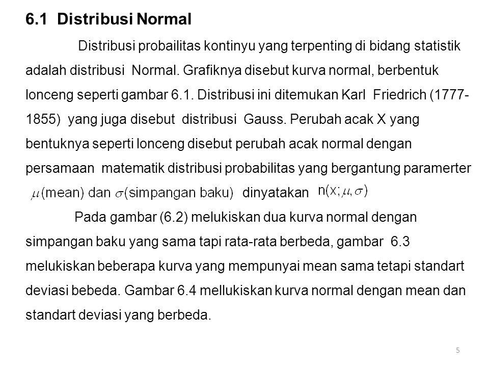 6.1 Distribusi Normal Distribusi probailitas kontinyu yang terpenting di bidang statistik adalah distribusi Normal. Grafiknya disebut kurva normal, be