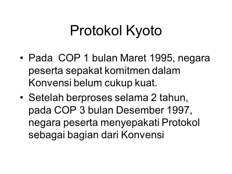 •Pada COP 1 bulan Maret 1995, negara peserta sepakat komitmen dalam Konvensi belum cukup kuat. •Setelah berproses selama 2 tahun, pada COP 3 bulan Des