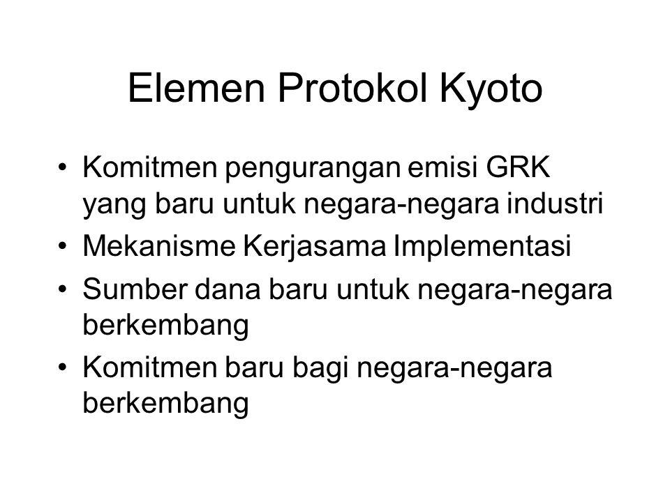 Elemen Protokol Kyoto •Komitmen pengurangan emisi GRK yang baru untuk negara-negara industri •Mekanisme Kerjasama Implementasi •Sumber dana baru untuk