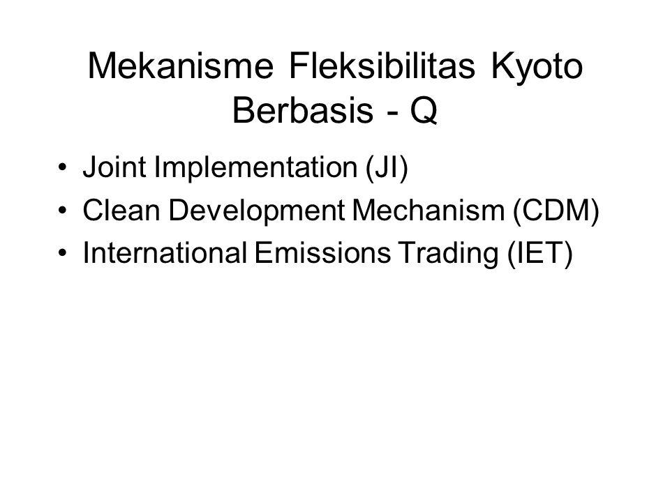 Mekanisme Fleksibilitas Kyoto Berbasis - Q •Joint Implementation (JI) •Clean Development Mechanism (CDM) •International Emissions Trading (IET)