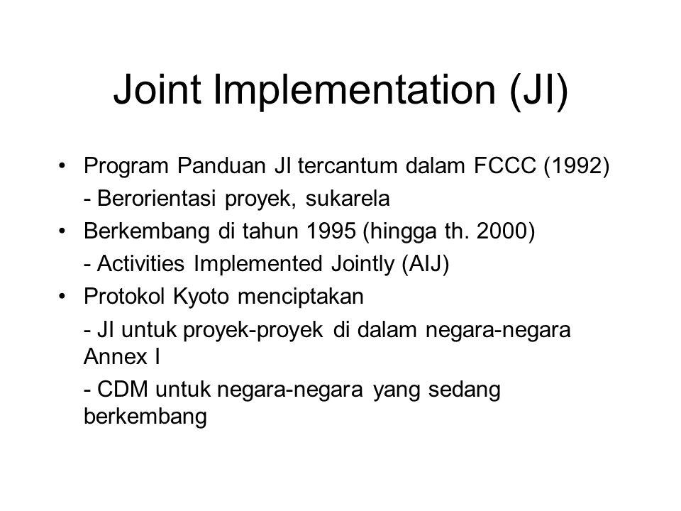 Joint Implementation (JI) •Program Panduan JI tercantum dalam FCCC (1992) - Berorientasi proyek, sukarela •Berkembang di tahun 1995 (hingga th. 2000)